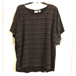 Flowy Black Striped Top Short Sleeved Plus 22/24W